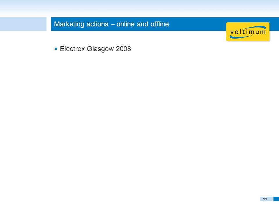 11 Marketing actions – online and offline  Electrex Glasgow 2008