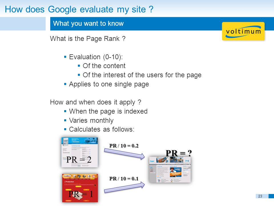 23 How does Google evaluate my site . What you want to know What is the Page Rank .