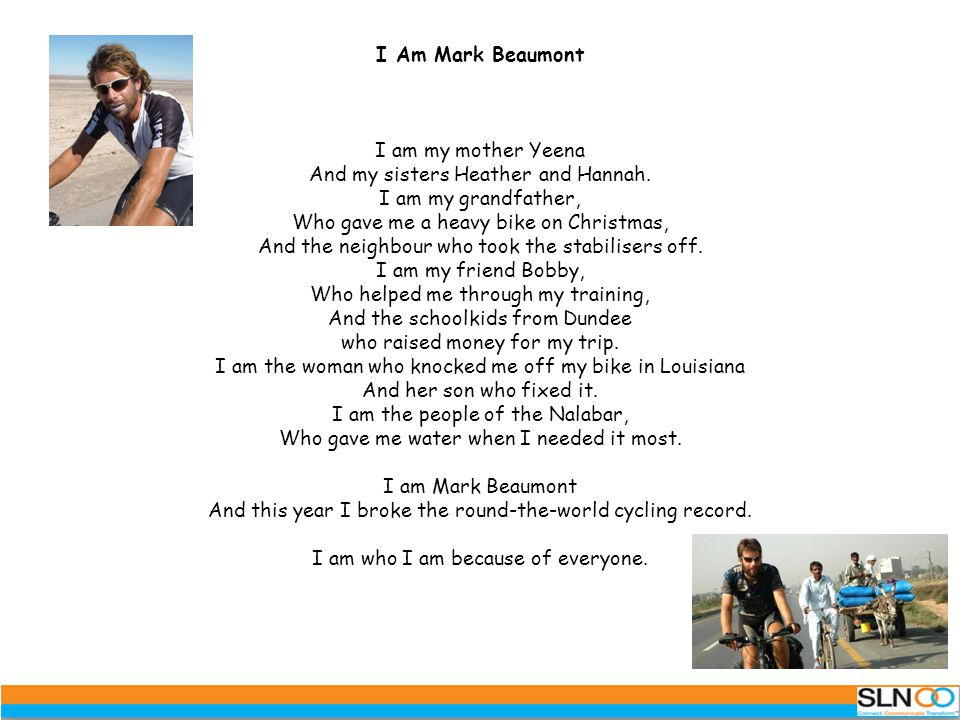 I Am Mark Beaumont I am my mother Yeena And my sisters Heather and Hannah.