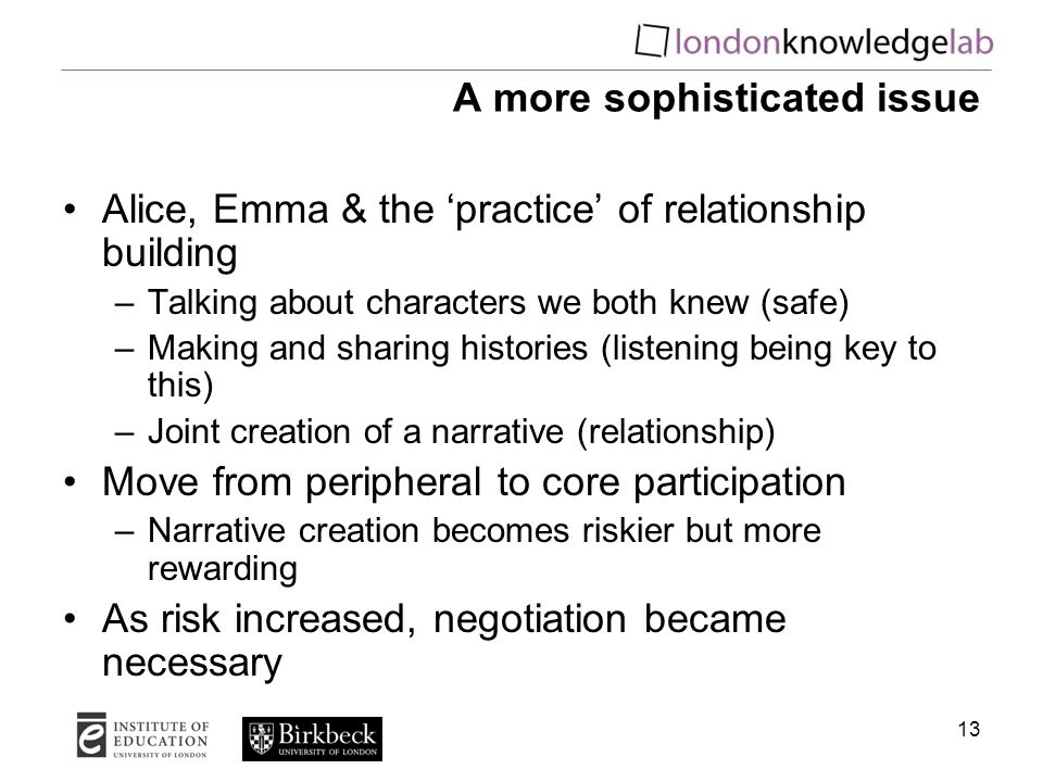 13 A more sophisticated issue Alice, Emma & the 'practice' of relationship building –Talking about characters we both knew (safe) –Making and sharing histories (listening being key to this) –Joint creation of a narrative (relationship) Move from peripheral to core participation –Narrative creation becomes riskier but more rewarding As risk increased, negotiation became necessary
