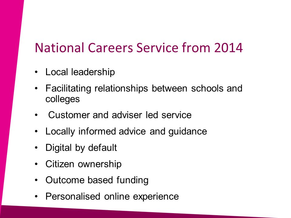 National Careers Service from 2014 Local leadership Facilitating relationships between schools and colleges Customer and adviser led service Locally informed advice and guidance Digital by default Citizen ownership Outcome based funding Personalised online experience