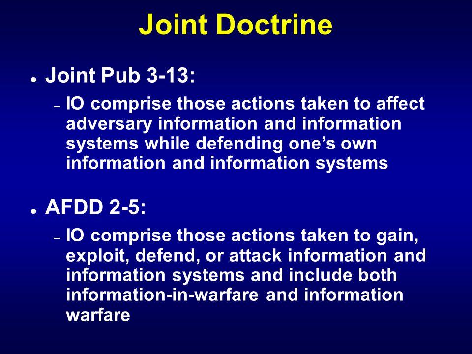 Joint Doctrine l l JP 3-13 IO l l JP 3-13.1 C2W l l JP 3-51 EW l l JP 3-53 PSYOP l l JP 3-54 OPSEC l l JP 3-58 Deception l l JP 3-61 PA