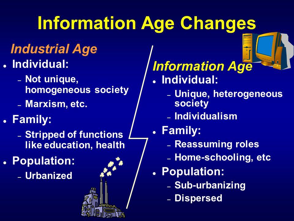 Information Age Changes l Individual: – Not unique, homogeneous society – Marxism, etc.