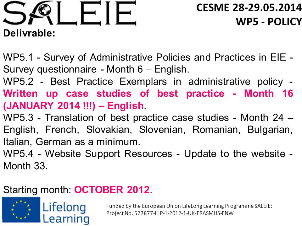 Delivrable: WP5.1 - Survey of Administrative Policies and Practices in EIE - Survey questionnaire - Month 6 – English.