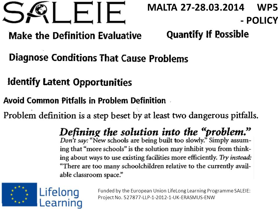 MALTA 27-28.03.2014 WP5 - POLICY Funded by the European Union LifeLong Learning Programme SALEIE: Project No.