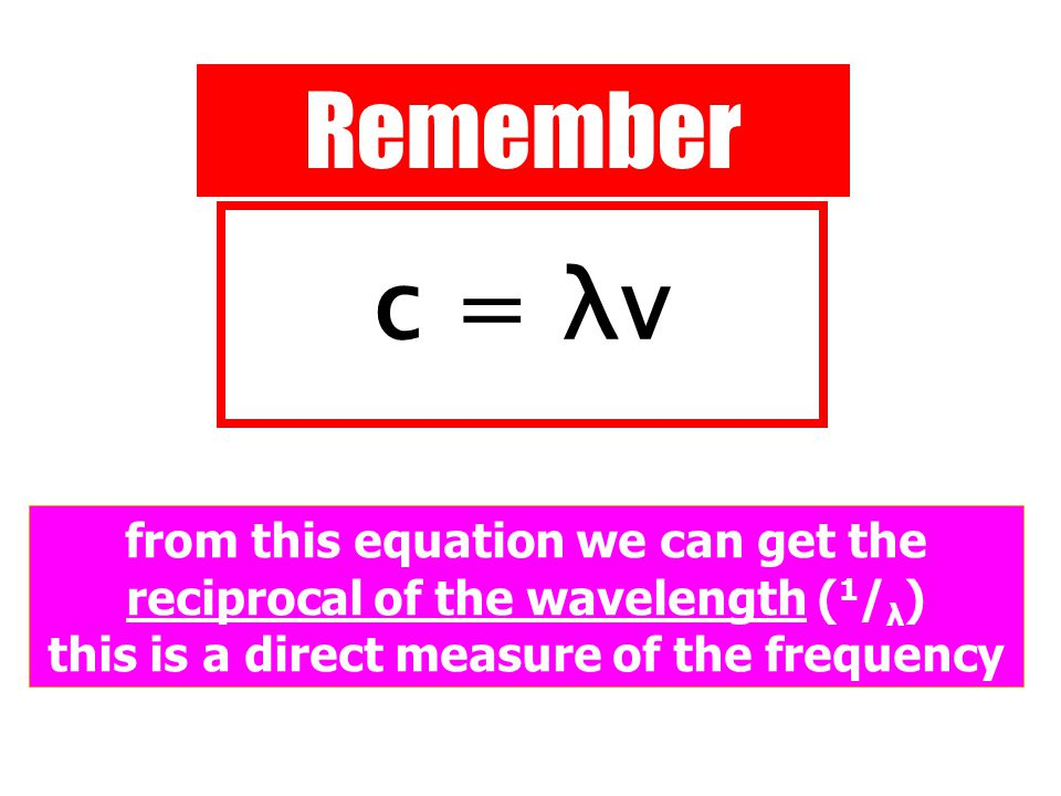 Remember c = λv from this equation we can get the reciprocal of the wavelength ( 1 / λ ) this is a direct measure of the frequency