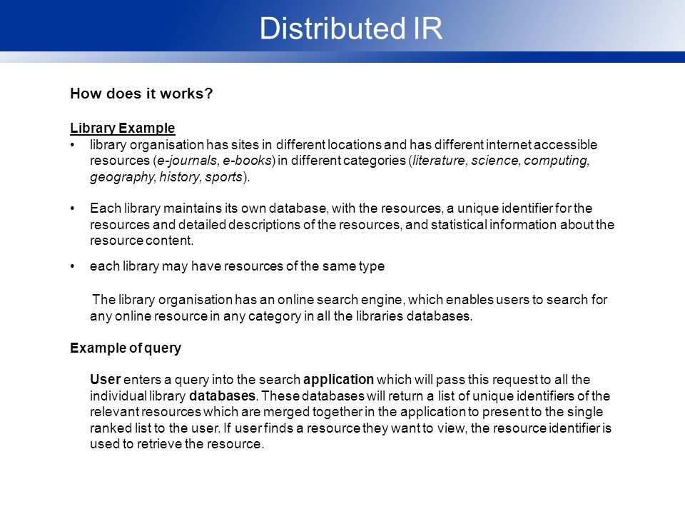 Distributed IR How does it works.