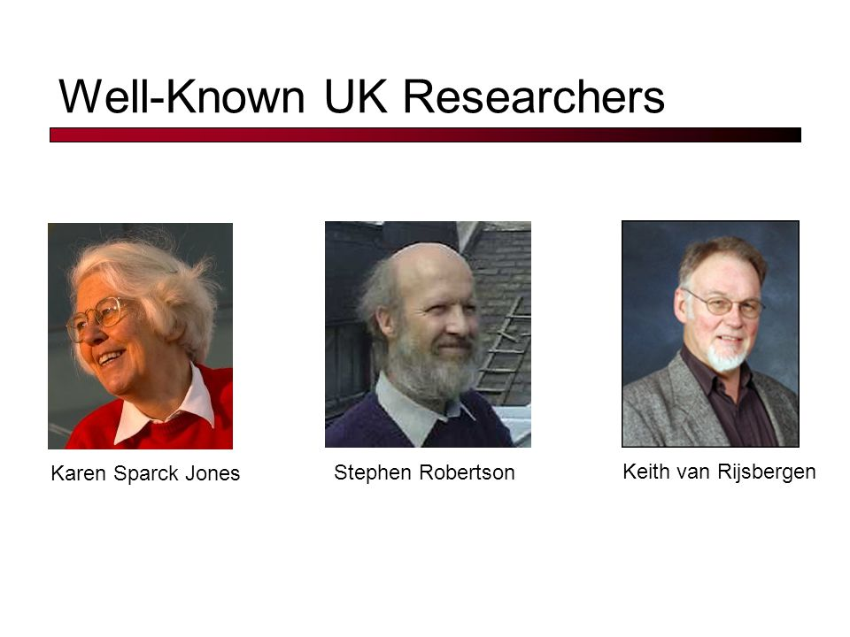 Well-Known UK Researchers Stephen Robertson Keith van Rijsbergen Karen Sparck Jones