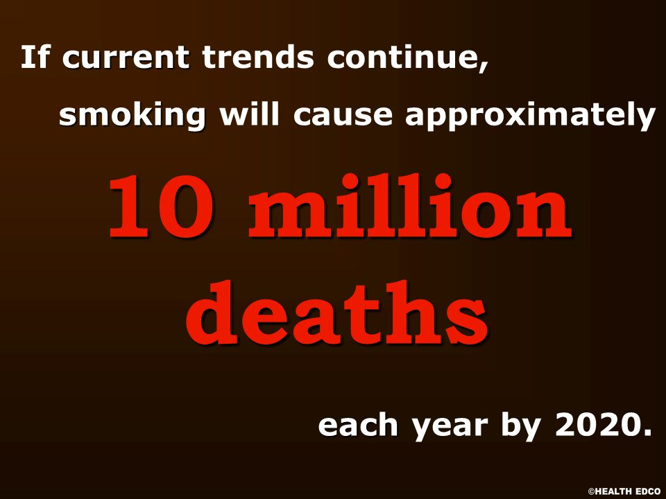 current If current trends continue, 10 million deaths each each year by 2020.