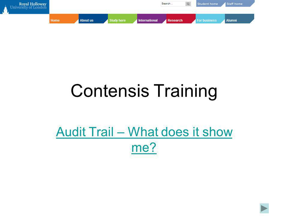 Contensis Training Audit Trail – What does it show me