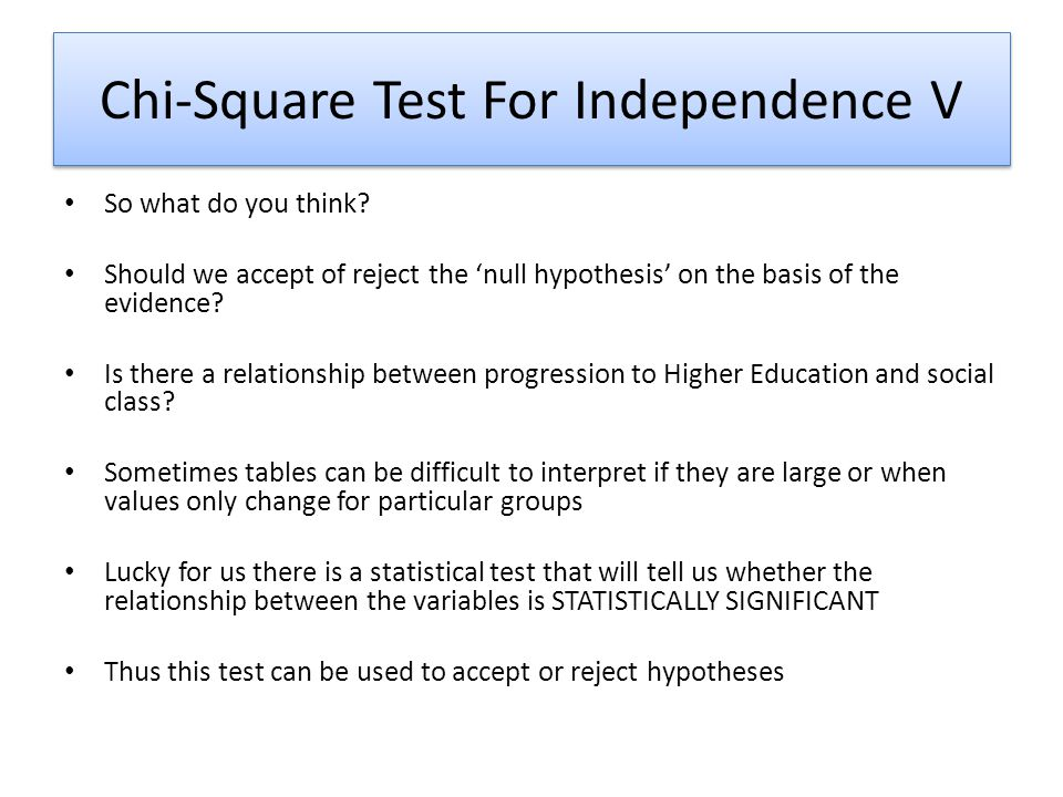 Chi-Square Test For Independence V So what do you think? Should we accept of reject the 'null hypothesis' on the basis of the evidence? Is there a rel