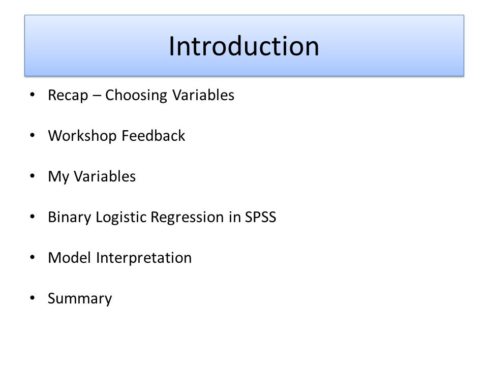 Binary Logistic Regression in SPSS V 9) Select 'Probabilities' – this will give us the calculated probability value (0 to 1) of each case, telling us how likely each respondent is to be 'Male' or 'Female' according to the model 10) Select 'Group membership' so we know whether each case was assigned as 'Male' or 'Female' This option is selected by default – leave it as it is 11) Select 'Standardized' under the 'Residuals' section – this is important for later interpretation 12) Click 'Continue'