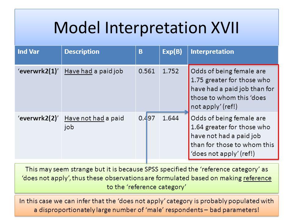 Model Interpretation XVII Ind VarDescriptionBExp(B)Interpretation 'everwrk2(1)'Have had a paid job0.5611.752Odds of being female are 1.75 greater for