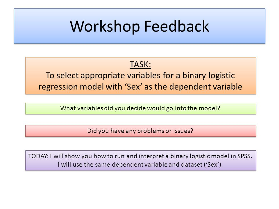 Workshop Feedback TASK: To select appropriate variables for a binary logistic regression model with 'Sex' as the dependent variable TASK: To select ap