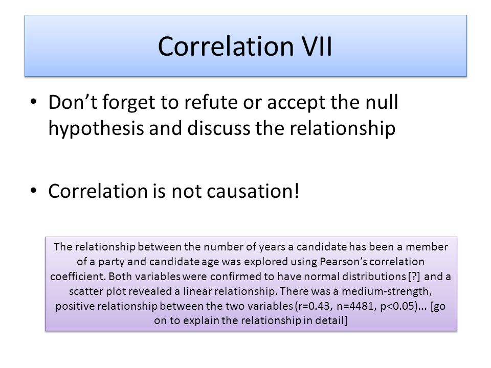 Correlation VII Don't forget to refute or accept the null hypothesis and discuss the relationship Correlation is not causation! The relationship betwe