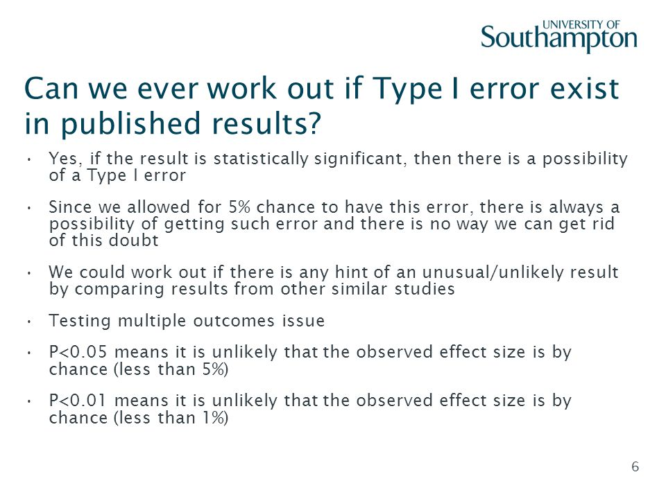 Slide - 6 Can we ever work out if Type I error exist in published results? Yes, if the result is statistically significant, then there is a possibilit