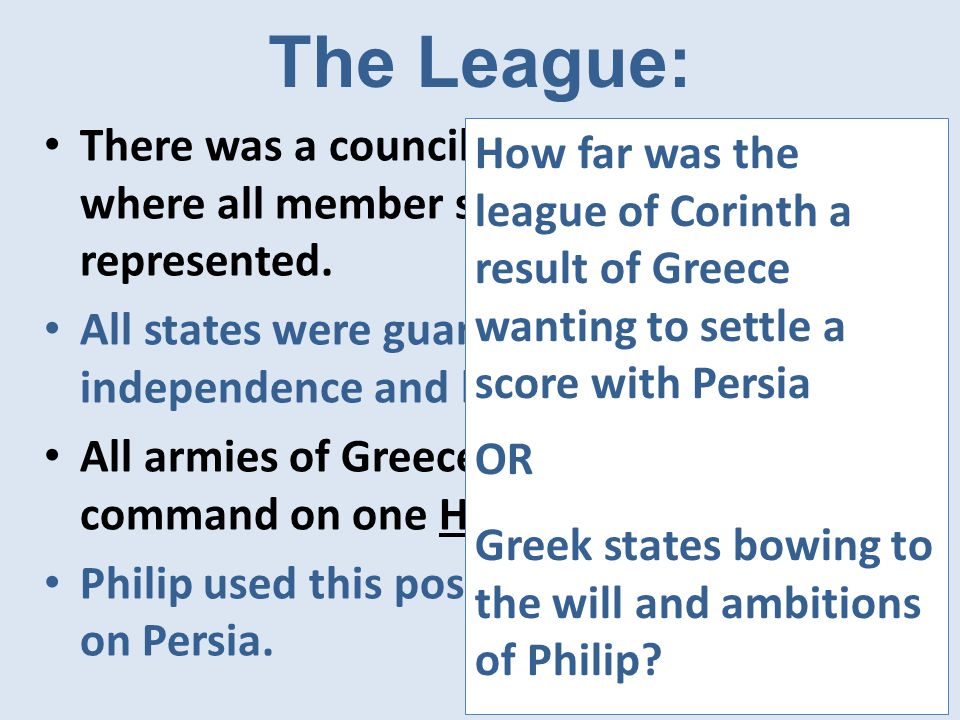 The League: There was a council called Synedrion where all member states were represented.