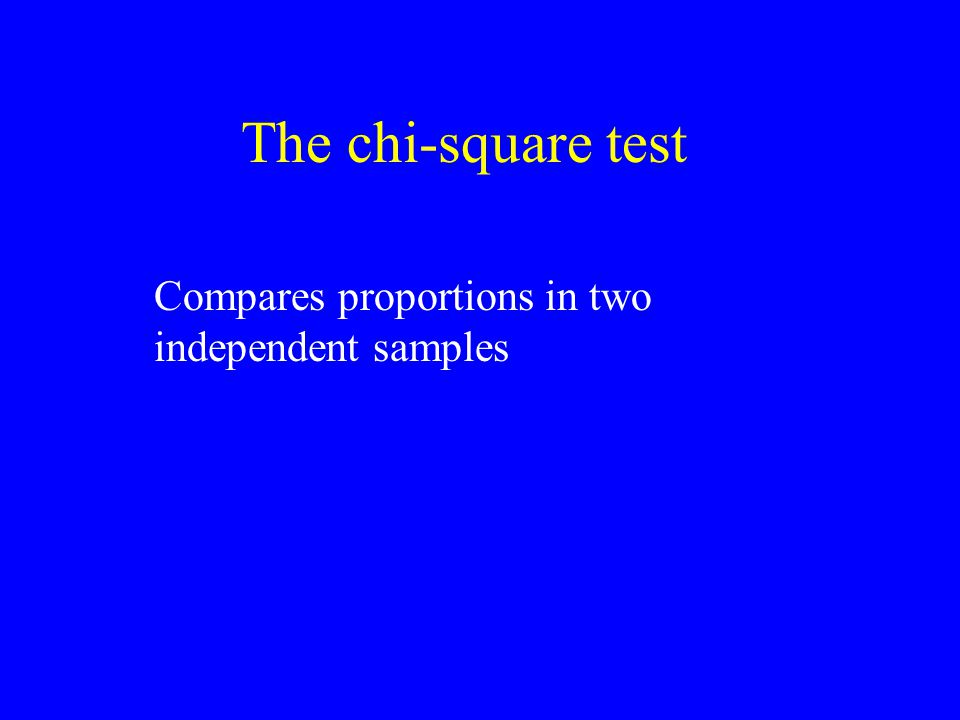 The chi-square test Compares proportions in two independent samples