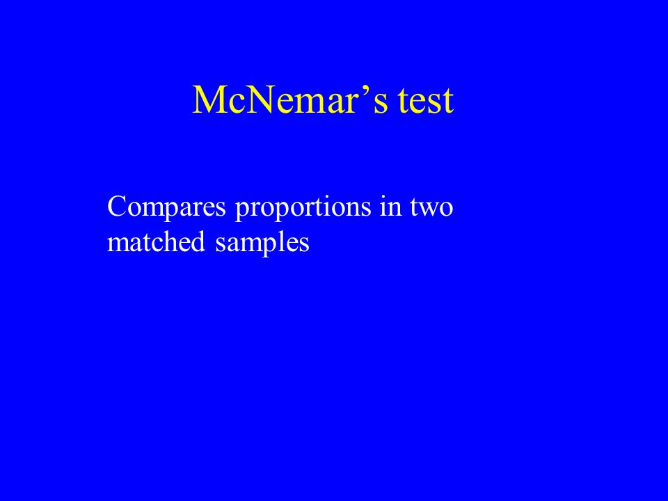 McNemar's test Compares proportions in two matched samples