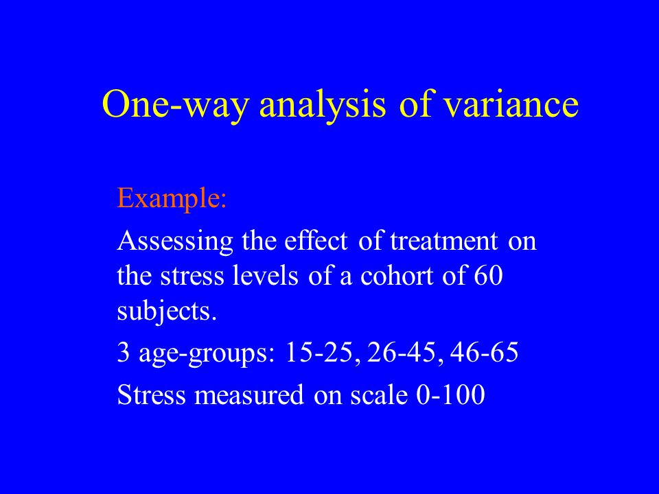 One-way analysis of variance Example: Assessing the effect of treatment on the stress levels of a cohort of 60 subjects. 3 age-groups: 15-25, 26-45, 4