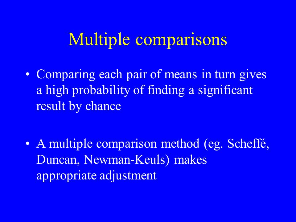 Multiple comparisons Comparing each pair of means in turn gives a high probability of finding a significant result by chance A multiple comparison met
