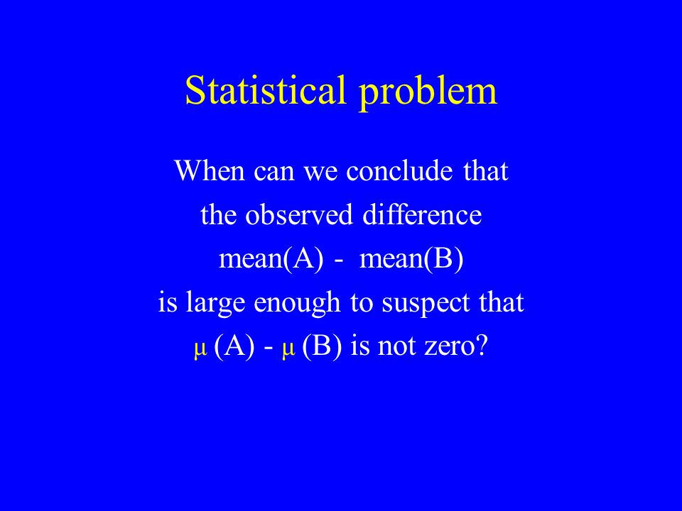 Statistical problem When can we conclude that the observed difference mean(A) - mean(B) is large enough to suspect that μ (A) - μ (B) is not zero?