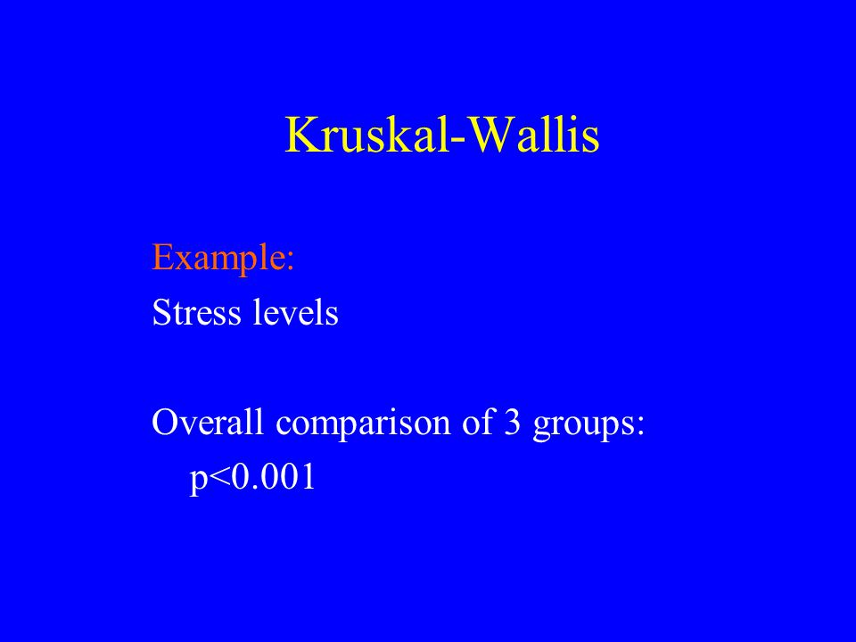 Kruskal-Wallis Example: Stress levels Overall comparison of 3 groups: p<0.001
