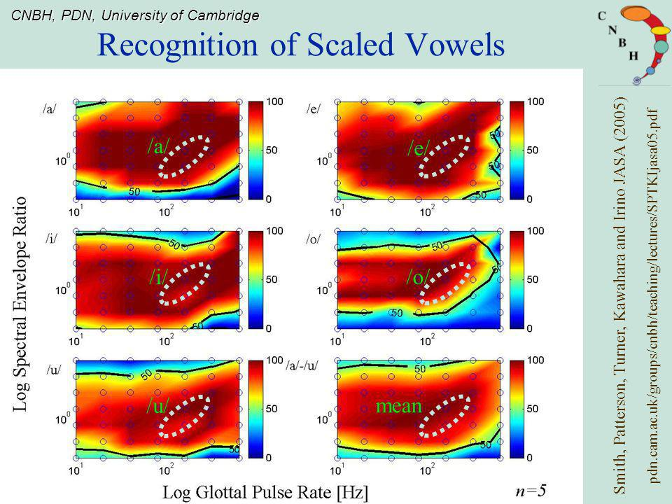 CNBH, PDN, University of Cambridge Recognition of Scaled Vowels Smith, Patterson, Turner, Kawahara and Irino JASA (2005) /a/ /u/ /i/ /e/ /o/ pdn.cam.ac.uk/groups/cnbh/teaching/lectures/SPTKIjasa05.pdf mean
