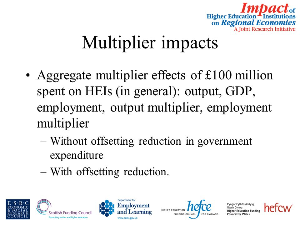Multiplier impacts Aggregate multiplier effects of £100 million spent on HEIs (in general): output, GDP, employment, output multiplier, employment multiplier –Without offsetting reduction in government expenditure –With offsetting reduction.