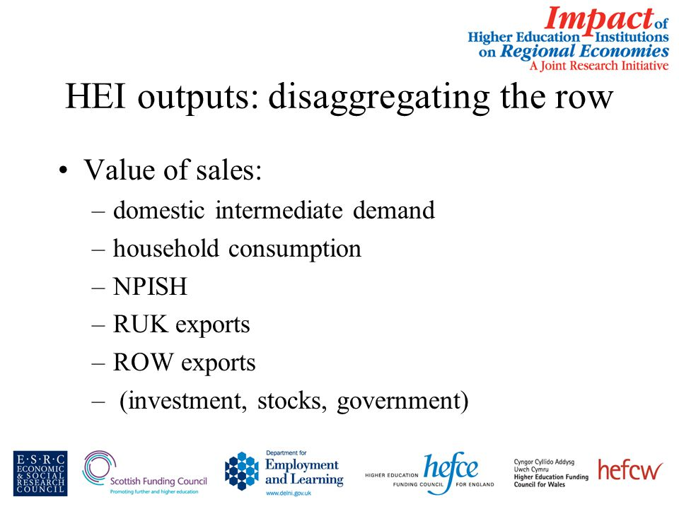 HEI outputs: disaggregating the row Value of sales: –domestic intermediate demand –household consumption –NPISH –RUK exports –ROW exports – (investment, stocks, government)