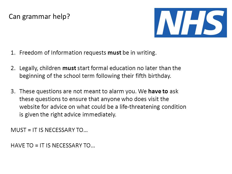 Can grammar help. 1.Freedom of Information requests must be in writing.