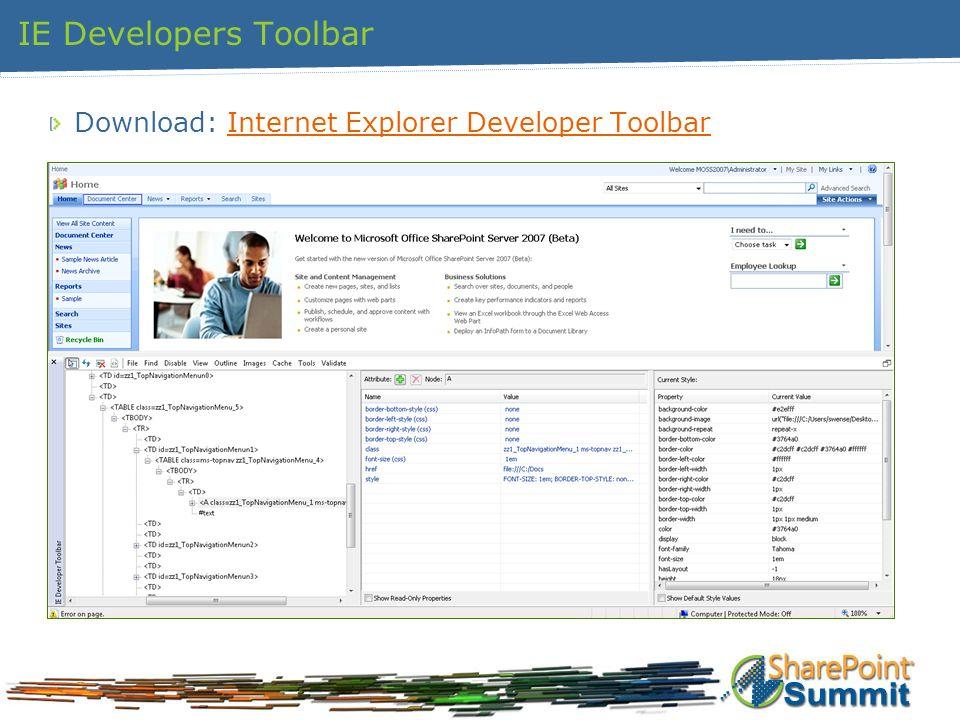 IE Developers Toolbar Download: Internet Explorer Developer ToolbarInternet Explorer Developer Toolbar