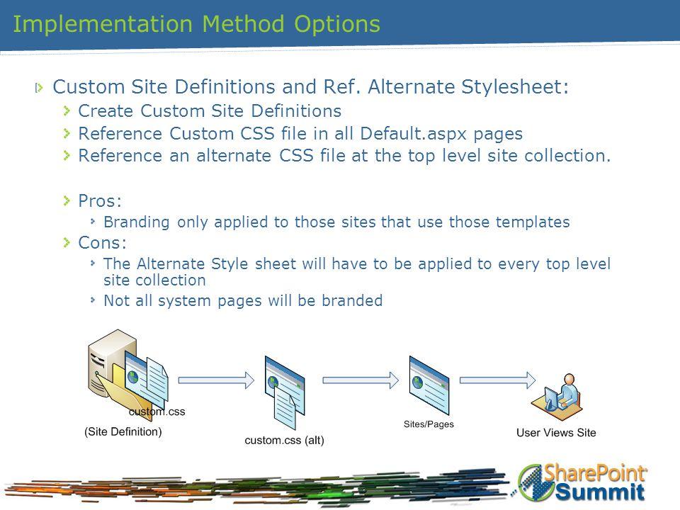 Implementation Method Options Custom Site Definitions and Ref. Alternate Stylesheet: Create Custom Site Definitions Reference Custom CSS file in all D
