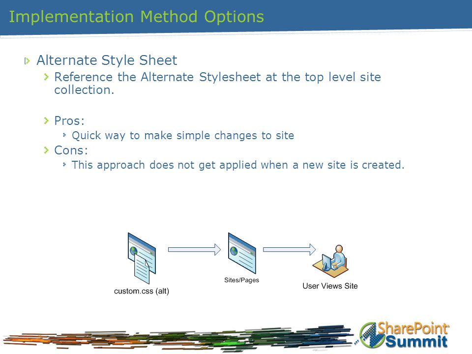 Implementation Method Options Alternate Style Sheet Reference the Alternate Stylesheet at the top level site collection.