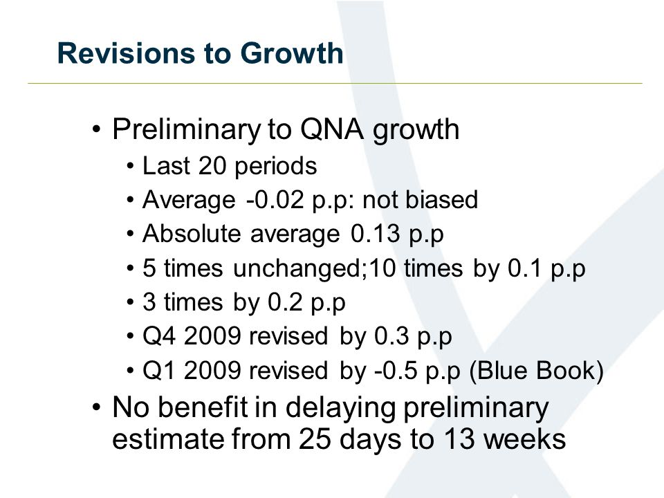 Revisions to Growth Preliminary to QNA growth Last 20 periods Average -0.02 p.p: not biased Absolute average 0.13 p.p 5 times unchanged;10 times by 0.1 p.p 3 times by 0.2 p.p Q4 2009 revised by 0.3 p.p Q1 2009 revised by -0.5 p.p (Blue Book) No benefit in delaying preliminary estimate from 25 days to 13 weeks
