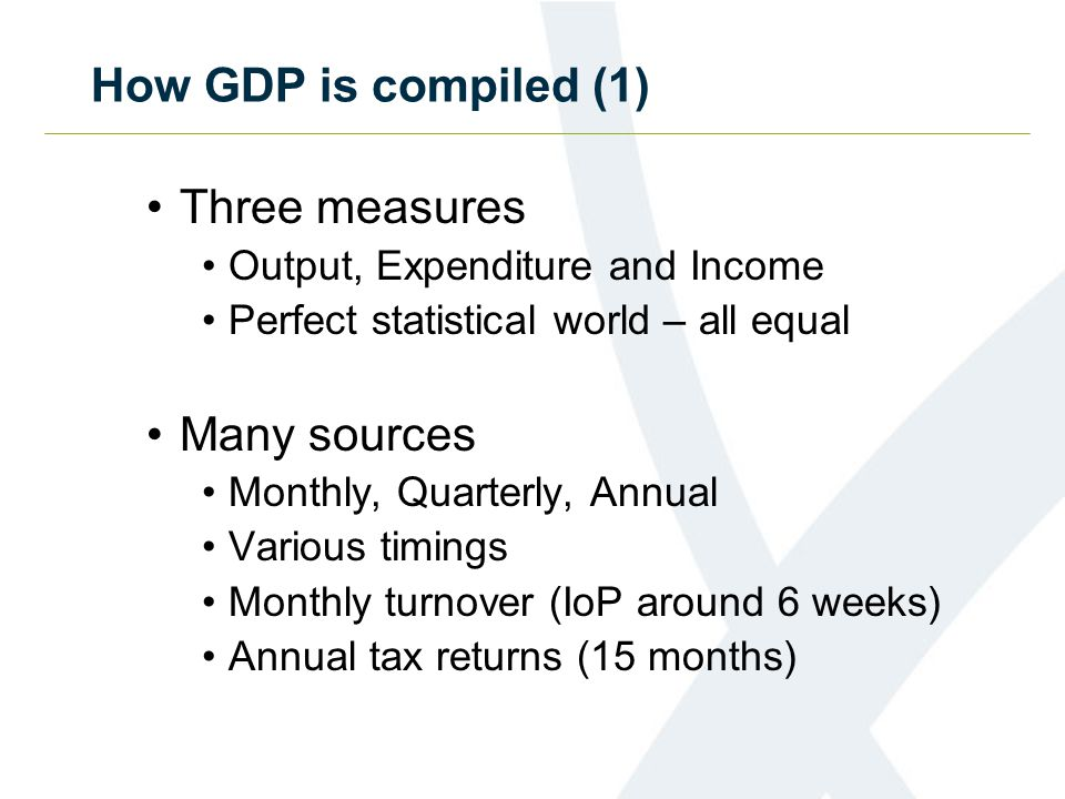 How GDP is compiled (2) Preliminary estimate (25 days) Accuracy and timeliness trade-off One of the fastest in the world Based exclusively on output, 44% data Second estimate (8 weeks) Growth based on output, 83% data Publish all measures Some provisional expenditure sources Limited direct income information Use of quarterly alignment adjustments
