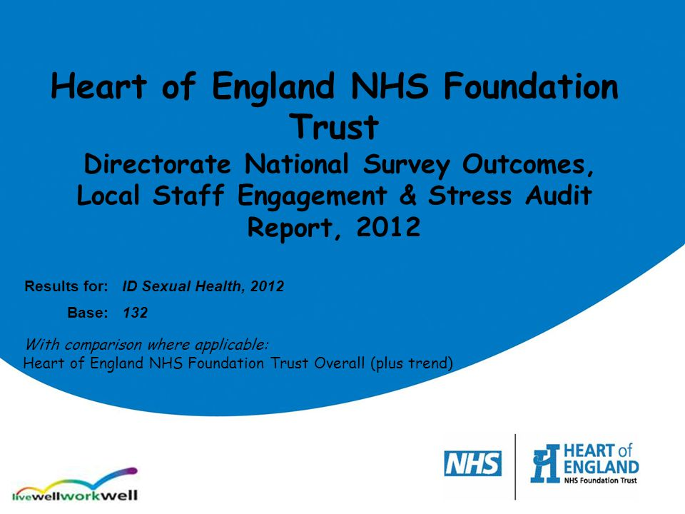 Heart of England NHS Foundation Trust Directorate National Survey Outcomes, Local Staff Engagement & Stress Audit Report, 2012 Results for:ID Sexual H