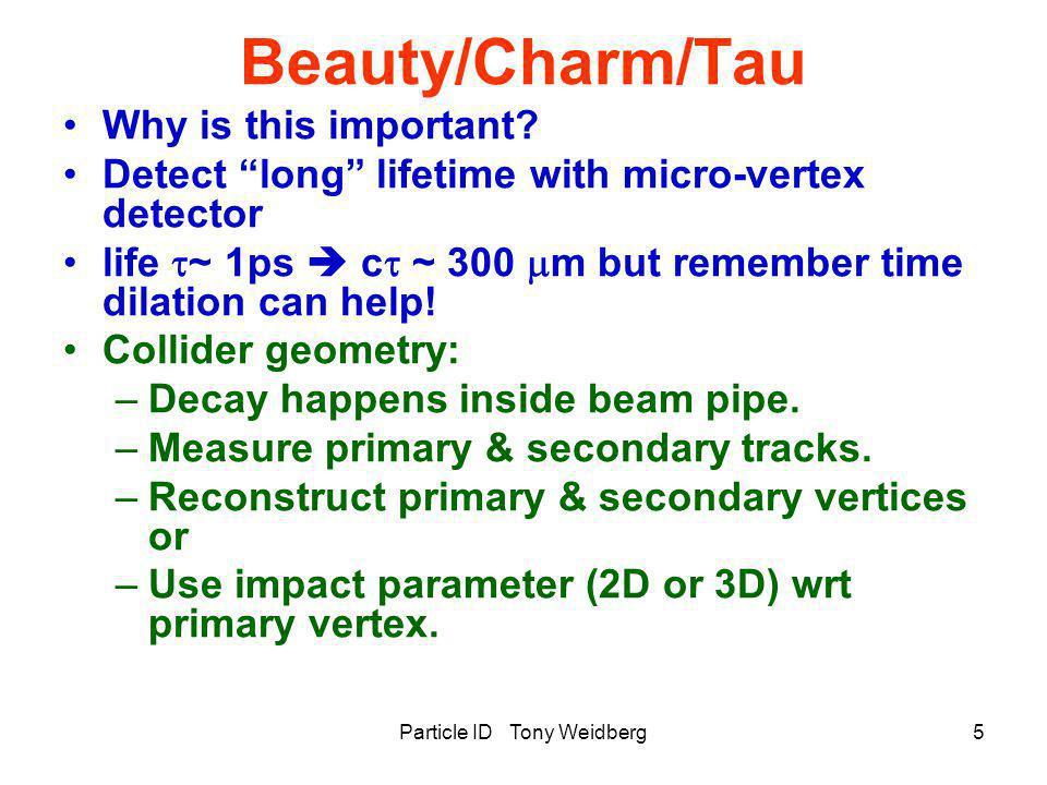 Particle ID Tony Weidberg16 Pi/K Separation