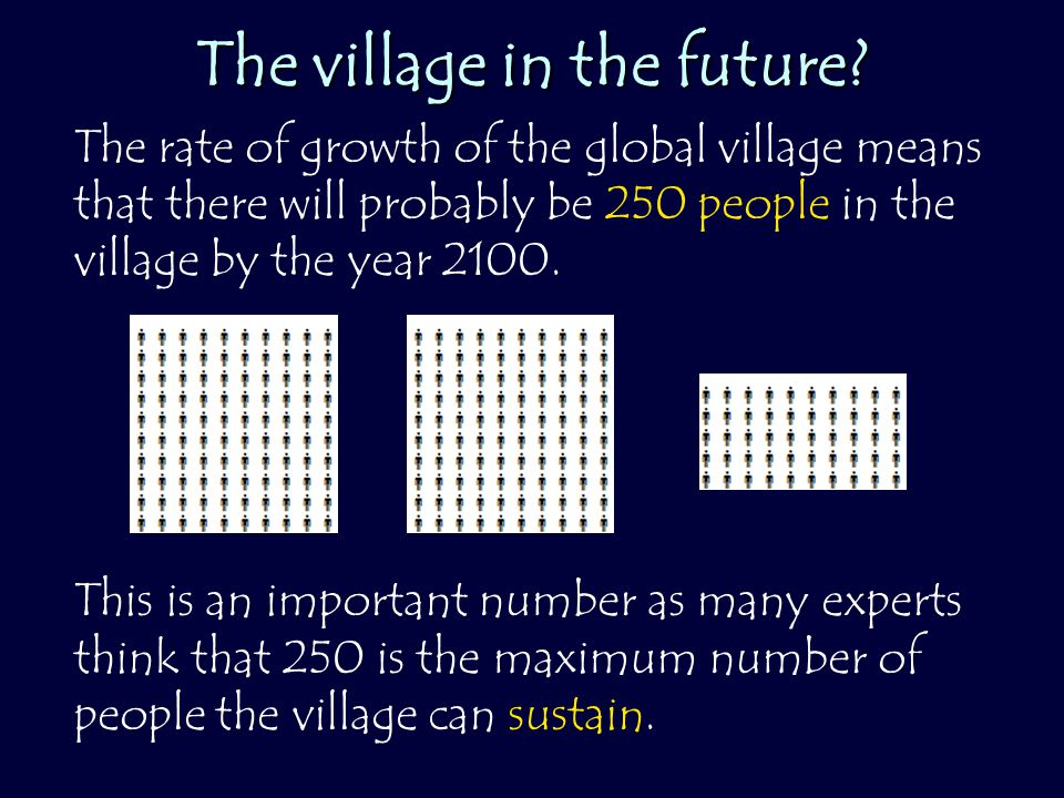 The village in the future? The rate of growth of the global village means that there will probably be 250 people in the village by the year 2100. This