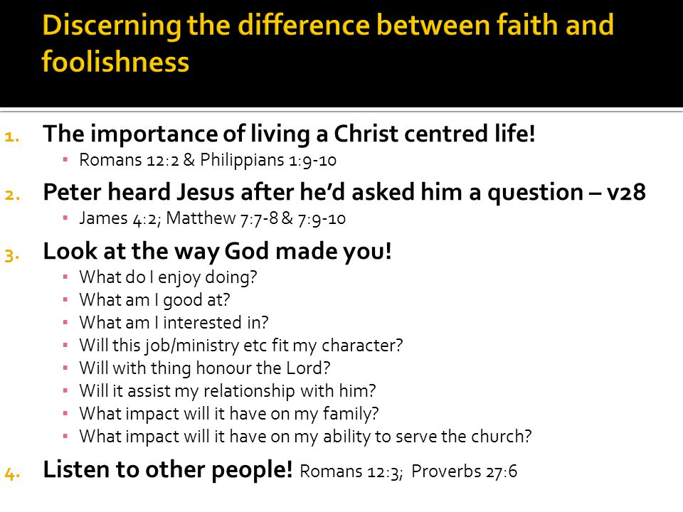 1. The importance of living a Christ centred life.