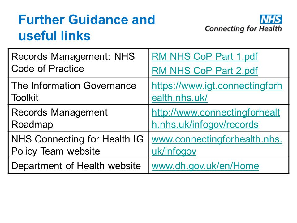 Further Guidance and useful links Records Management: NHS Code of Practice RM NHS CoP Part 1.pdf RM NHS CoP Part 2.pdf The Information Governance Toolkit https://www.igt.connectingforh ealth.nhs.uk/ Records Management Roadmap http://www.connectingforhealt h.nhs.uk/infogov/records NHS Connecting for Health IG Policy Team website www.connectingforhealth.nhs.