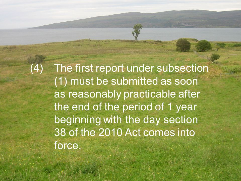 (4) The first report under subsection (1) must be submitted as soon as reasonably practicable after the end of the period of 1 year beginning with the day section 38 of the 2010 Act comes into force.