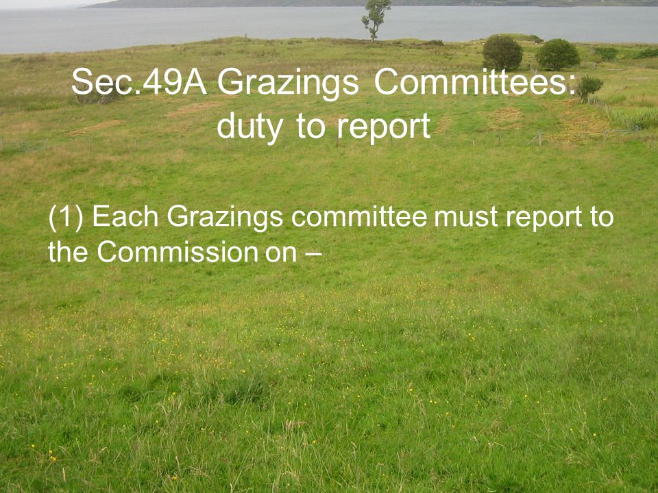 Sec.49A Grazings Committees: duty to report (1) Each Grazings committee must report to the Commission on –