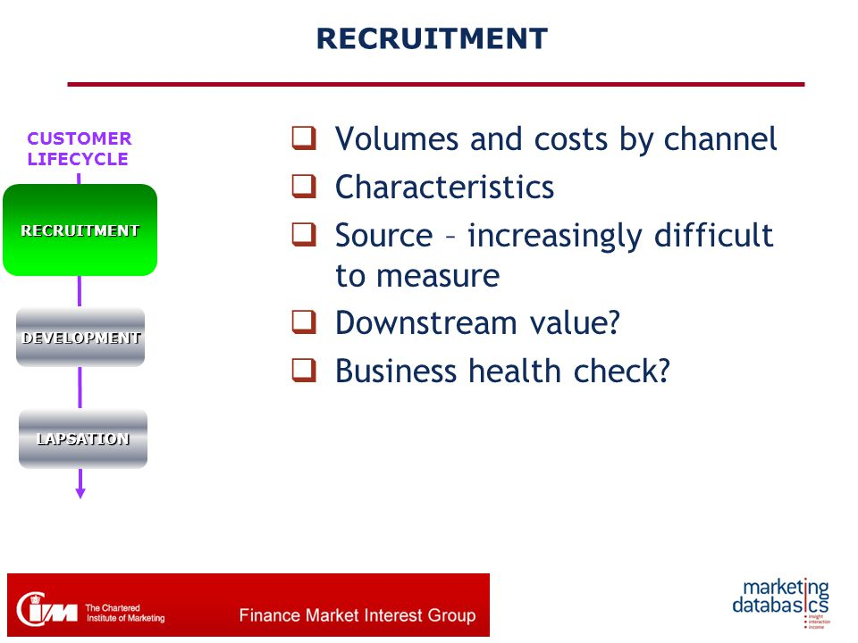 CUSTOMER LIFECYCLERECRUITMENT DEVELOPMENT LAPSATION RECRUITMENT  Volumes and costs by channel  Characteristics  Source – increasingly difficult to