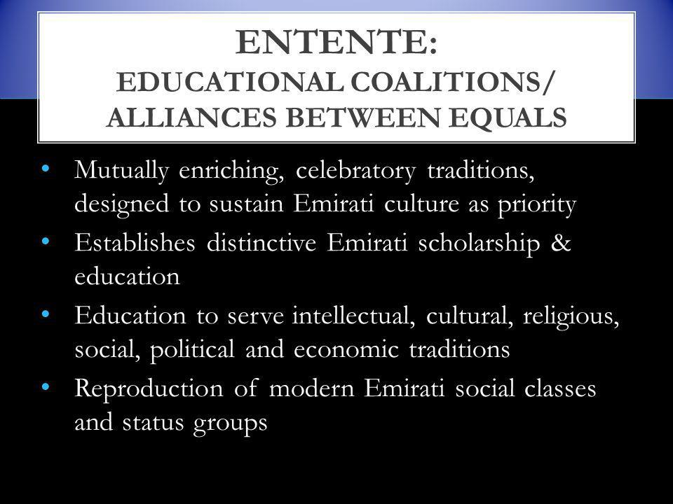 Mutually enriching, celebratory traditions, designed to sustain Emirati culture as priority Establishes distinctive Emirati scholarship & education Education to serve intellectual, cultural, religious, social, political and economic traditions Reproduction of modern Emirati social classes and status groups ENTENTE: EDUCATIONAL COALITIONS/ ALLIANCES BETWEEN EQUALS