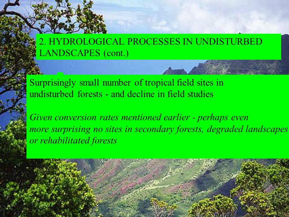 2. HYDROLOGICAL PROCESSES IN UNDISTURBED LANDSCAPES (cont.) Surprisingly small number of tropical field sites in undisturbed forests - and decline in