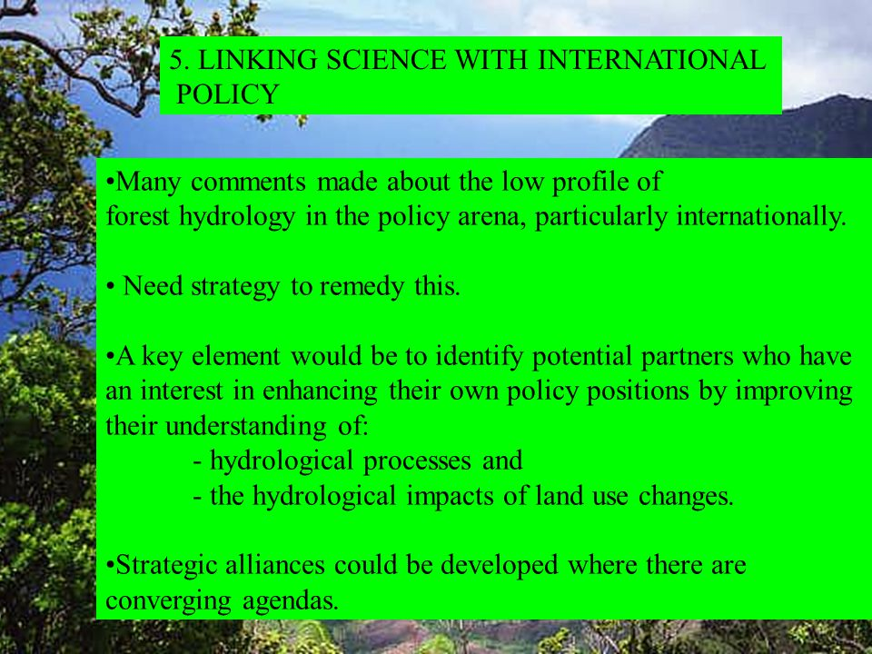 Many comments made about the low profile of forest hydrology in the policy arena, particularly internationally.