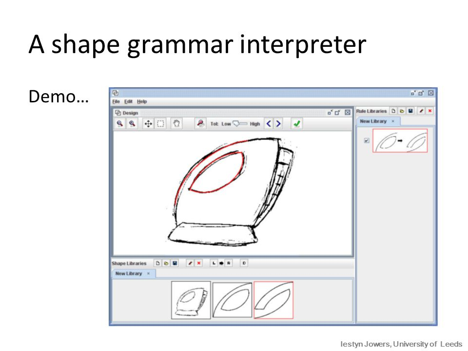 A shape grammar interpreter Demo… Iestyn Jowers, University of Leeds