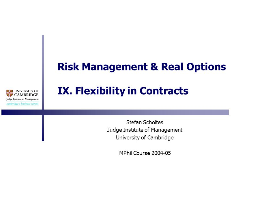 Risk Management & Real Options IX.