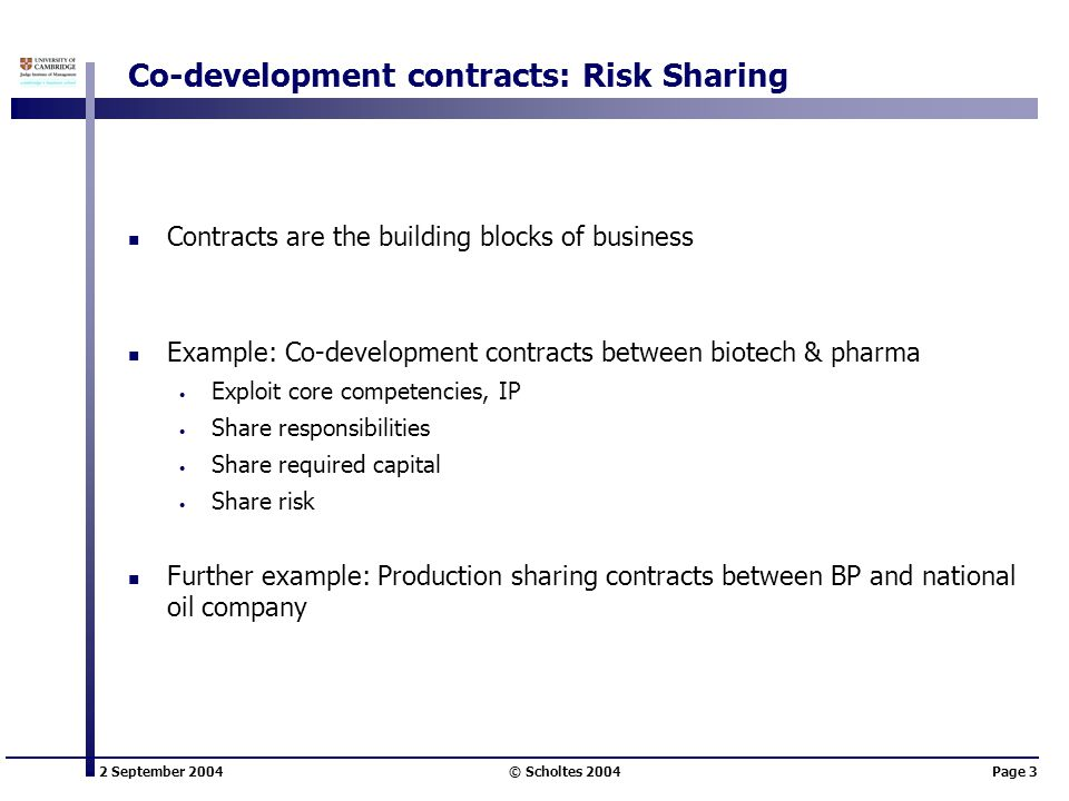 2 September 2004 © Scholtes 2004Page 3 Co-development contracts: Risk Sharing Contracts are the building blocks of business Example: Co-development contracts between biotech & pharma Exploit core competencies, IP Share responsibilities Share required capital Share risk Further example: Production sharing contracts between BP and national oil company